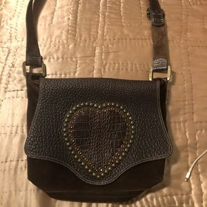 Leatherock satchel with heart jewel design